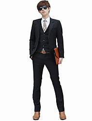 Men's Long Sleeve Regular Blazer+Pant+Vest+Shirt Set,Cotton / Polyester Solid 916190
