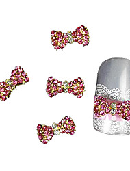 10pcs  Pink Rhinestone Bow Tie Alloy Accessories Finger Tips Nail Art Decoration