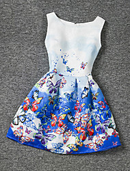 Girl's Blue Dress,Print Polyester Summer