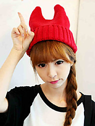 Orecchiette Devil Horn Fluorescent Wool Knitted Cute Hat In Autumn And Winter