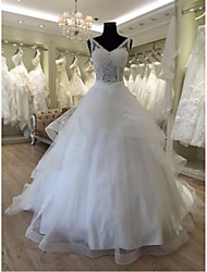 Ball Gown Wedding Dress Chapel Train V-neck Lace / Organza / Satin / Tulle with Lace / Sequin / Appliques / Beading