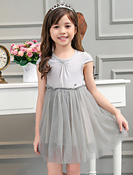 Girl's Gray Dress,Solid Cotton / Spandex Summer