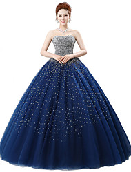 Formal Evening Dress-Dark Navy Ball Gown Strapless Floor-length Satin / Tulle / Stretch Satin / Sequined