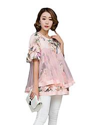 Mulheres Blusa Casual Plus Sizes / Moda de Rua Verão,Estampado Rosa Poliéster Decote Redondo Manga Curta Média