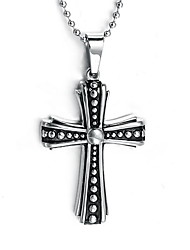 Men's Pendant Necklaces Pendants Titanium Steel Cross Cross Punk Silver Jewelry Daily Casual 1pc