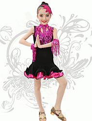 Latin Dance Children's Performance Spandex Sequins / Tassel(s) V Neck Dresses