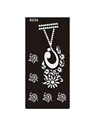 1pc collier de fleurs temporaire impression aérographe tatouage au henné autocollant bijoux bricolage corps art pochoir de tatouage S239