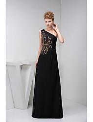 Formal Evening Dress-Black A-line One Shoulder Floor-length Chiffon