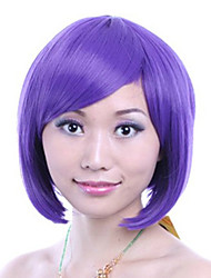 8 inch Cosplay Women Bobo Short Straight Synthetic Hair Wig Side Bang Purple with Free Hair Net
