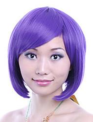 8 mujeres pulgadas bobo recta corta peluca de pelo sintético del lado explosión de color púrpura