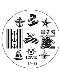 jolis marins nés&mer voile BP33 plaque d'image de modèle de thème de l'ongle d'art de timbre