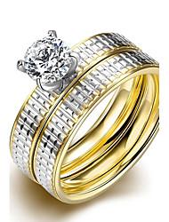 Alliances Mode Mariage / Soirée / Quotidien / Décontracté Bijoux Zircon / Acier au titane / Plaqué or Couple Set 1set,6 / 7 / 8 / 9 Doré