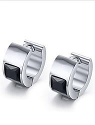 WOMEN Stainless Steel black  Hoop Earrings