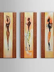 pintura a óleo africano retrato pintado à mão em 3pcs lona / frame do whit definir a arte da parede