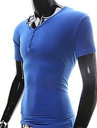 Summer Style 2016 Men T Shirt Sport Short Fitness Tee Shirts Casual T Shirt Tops & Tees Button Design Men Clothing