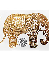 Lovely Waterproof Metal Elephant Gold Face Sticker W211