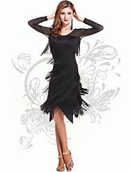 Latin Dance Women's Performance Spandex Tassel(s) Dresses Black