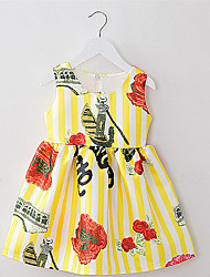 Girl's Yellow Dress,Floral Cotton / Polyester Summer / Spring