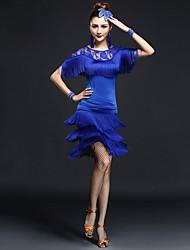 Baile Latino Accesorios Mujer Representación Chinlon Nylón Encaje 2 Piezas Mangas cortas Cintura Alta Top Falda
