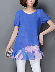 Women's Print Blue / Black / Orange Blouse,Round Neck Short Sleeve