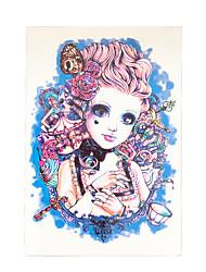 8pcs ângulo beleza menina sem cheiro peri perna braço flor decalque de volta as mulheres tatoo homens arte do corpo tatuagem temporária