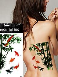 5Pcs Flower Bird Decal  Waterproof Tattoo DIY Henna Bamboo Fish Carp Temporary Tattoo Sticker
