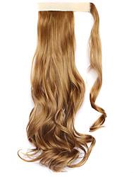 peluca marrón dorado de cola de caballo rizada de color 27j 45cm alambre de alta temperatura sintética