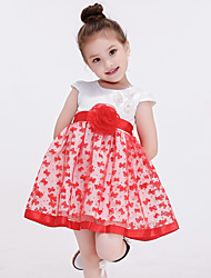 Girl's Red Dress,Patchwork Polyester Summer