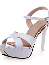 Women's Shoes PU Stiletto Heel Heels / Peep Toe Sandals Office & Career / Party & Evening / Casual Pink / Purple