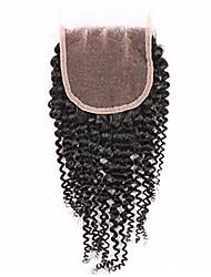 "8""-30"" Black Kinky Curly Human Hair Closure Medium Brown Swiss Lace 60g gram Cap Size"