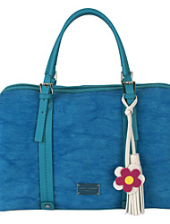 DAVIDJONES/Women PU / Canvas Shopper Shoulder Bag / Tote / Cross Body Bag-Blue