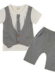 Girl's Striped Clothing Set,Polyester Summer Gray
