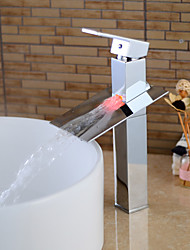 Contemporary Chrome Finish Bathroom Sink Faucet Brass Single Handle Waterfall with LED Light - Silver