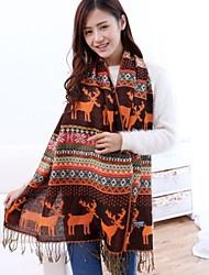 Jacquard knit Bohemian Christmas Snowflake Fawn Colored Geometric Thick Scarves Scarf