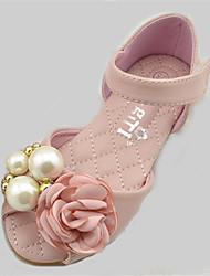 Girl's Spring / Fall Round Toe / Comfort PU Outdoor Flat Heel Pink / Ivory