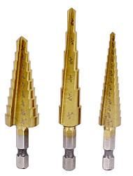 3pcs altura cone corte estabelecidos ferramentas da broca sae hex shank hss titânio revestido etapa ferramentas de brocas de perfuração