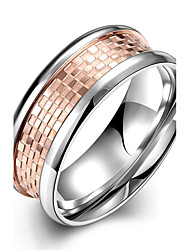 Individual Original Men's Rose Gold Plaid Titanium Steel Gold Plated Statement Rings(Rose Gold)(1Pc)