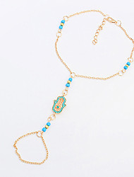 Women's European Style Fashion Trend Simple Mini Palm Anklet with Ring