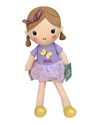 echte Frühlingsmädchen Puppe Plüschspielzeugpuppe Baby-Puppe Puppe Mädchen Geschenkbogen lila Kleid Sitzhöhe 35 cm zu beschwichtigen