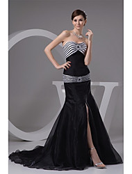 Formal Evening Dress Trumpet / Mermaid Sweetheart Court Train Organza with Beading / Sash / Ribbon / Split Front