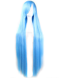 Fashion Color Cartoon Wig 100 CM  Sky Blue Long Straight Hair Wigs