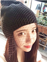 Retro Mesh Veil Autumn And Winter Knit Wool British Style Hat
