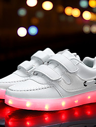 Girl's Athletic Shoes Spring Summer Fall Winter Comfort Light Up Shoes PU Outdoor Casual Athletic Flat Heel Buckle LED Black Pink White