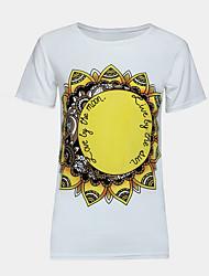 Damen Druck Retro / Street Schick Ausgehen T-shirt,Rundhalsausschnitt Ärmellos Weiß Kunstseide Dünn