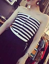 Women's Striped White / Green Pullover,Street chic Sleeveless
