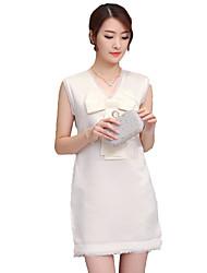 Women's Simple Patchwork Loose / Sheath Dress,V Neck Mini Polyester