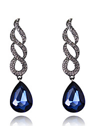Luxury Drops Shape Cubic Zrconia Crystal Drop Earrings Jewelry for Lady(7.5*1.9cm)