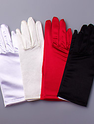 Wrist Length Fingertips Glove Satin / Elastic Satin Bridal Gloves / Party/ Evening Gloves Spring / Summer / Fall / WinterBlack / White /