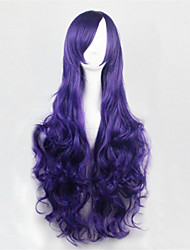 Europe And The United States The New Color Long Curly Wig 80 CM High Temperature Silk Purple Hair Wigs