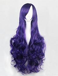 Europa y los Estados Unidos la peluca rizada larga nuevo color de 80 cm de seda de alta temperatura de las pelucas de cabello púrpura